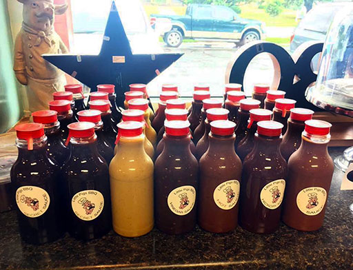 Bottles of Various Sauces from Little Pigs of Pine Street