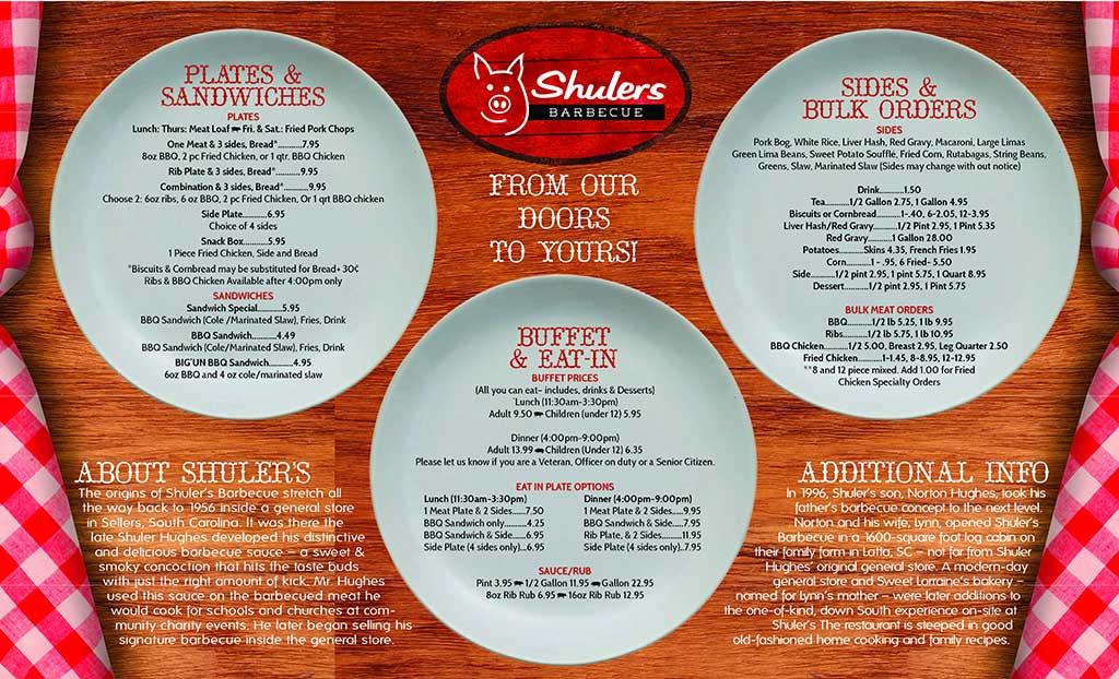 Menu for Shuler's Barbecue in Latta