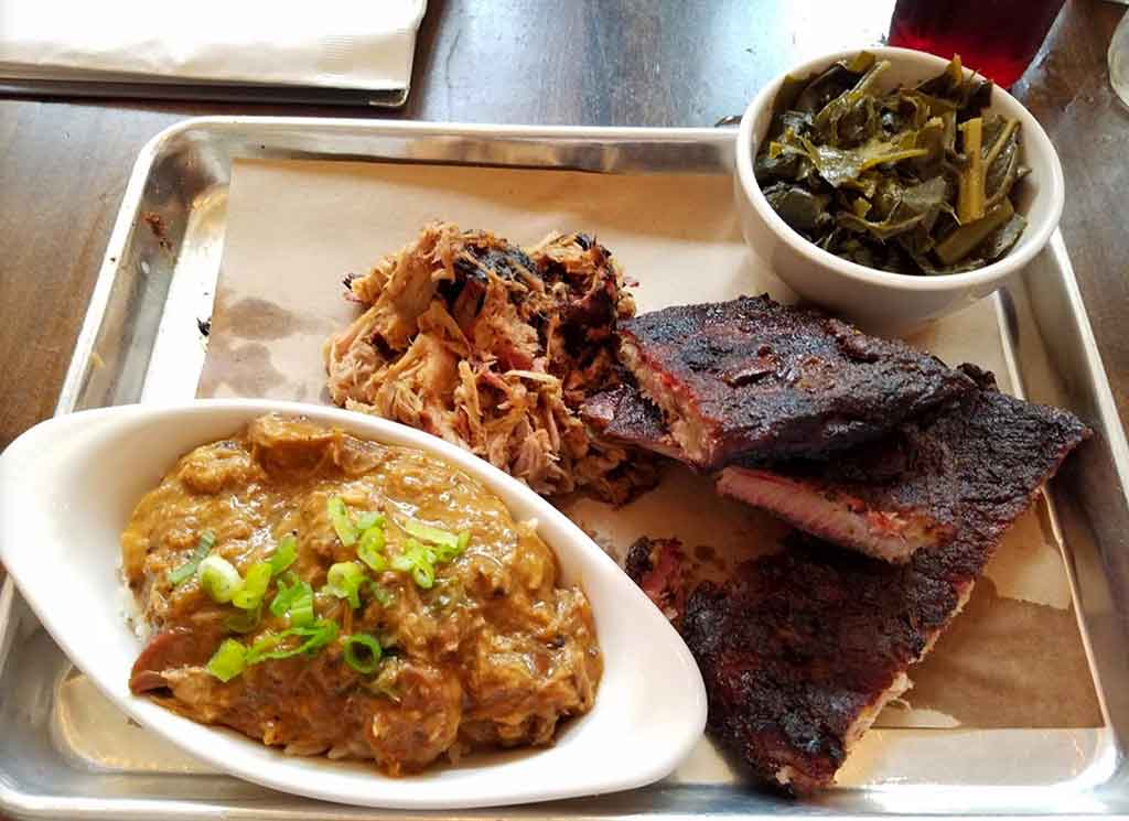 Pulled pork, ribs, collards, and hash from Poogan's Smokehouse.