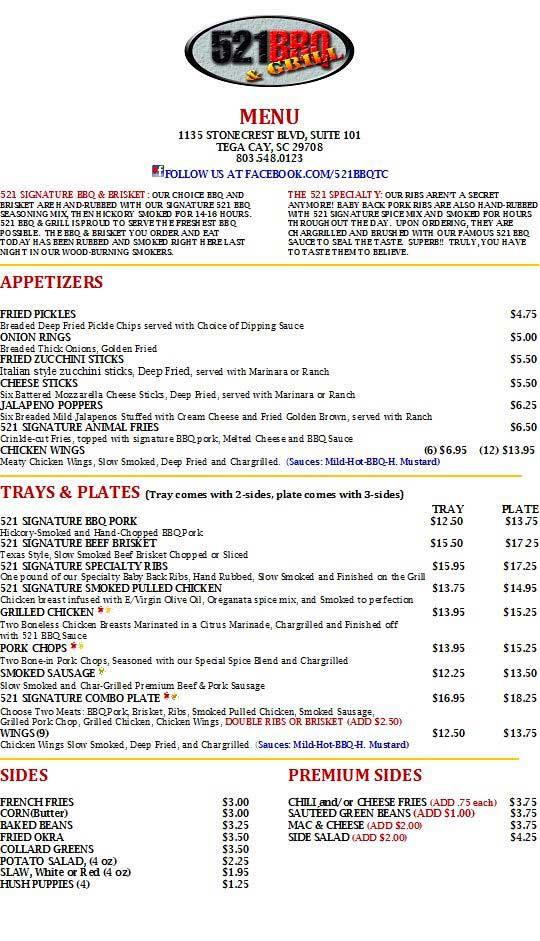 Menu for 521 BBQ & Grill in Tega Cay