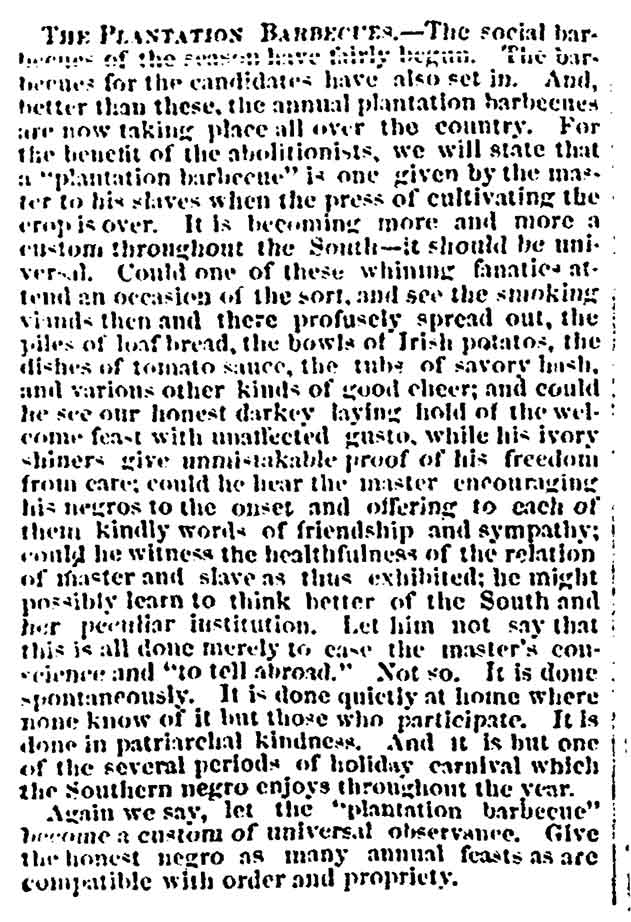 The Plantation Barbecues, newspaper article from the Charleston Mercury